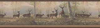 Brewster 145B64994 Northwoods Lodge Running Brown Deer Border Wallpaper
