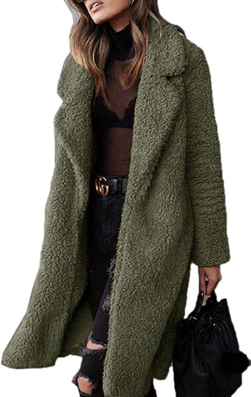 Womens Open Front Coat Faux Fur Fuzzy Fleece Warm Winter Outwear Jacket