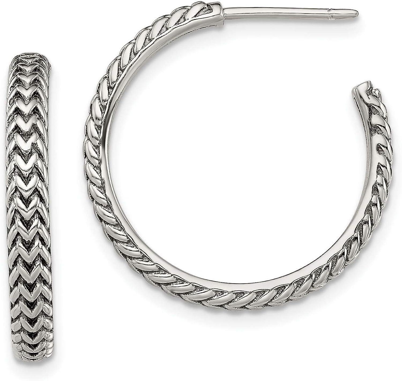 Sterling Silver 3 Free Shipping Cheap Bargain Gift mm Zig Hoop Post 23.8x23.7 Zag Austin Mall Earrings