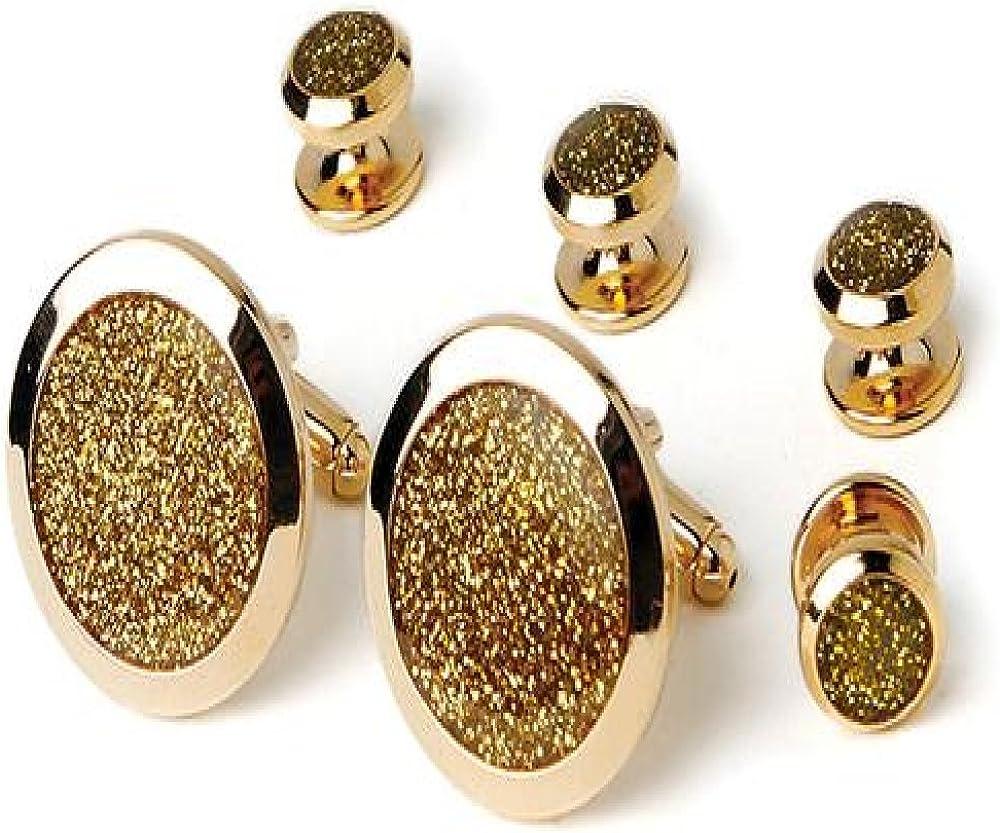 Gold Dust Tuxedo Studs and Cufflinks Set Gold Trim
