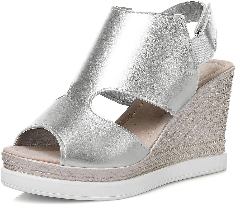DoraTasia Women's Leather Peep Toe Wedges Sandals Espadrille Ankle Strap Platform shoes