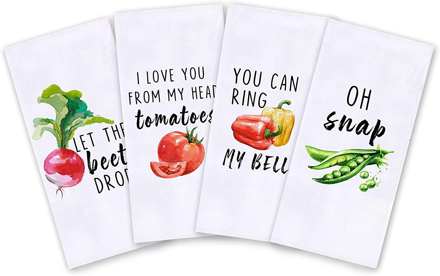 Funny Vegetables Kitchen Towels 18×28 Inch Beet/Tomatoes/Bell Pepper/Snap Peas Set of 4 Kitchen Dish Towels Absorbent Dishcloths with Fun Saying for Kitchen Decor,Housewarming Gifts