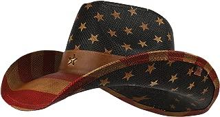 Armycrew Vintage American Flag Western Paper Straw Cowboy Cowgirl Hat