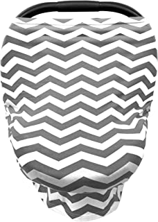 Luvit 5-in-1 Baby Car Seat Canopy, Stroller Canopy, Shopping Cart Cover, High Chair Cover and Nursing Cover All-In-One Universal Fit in Grey and White Chevron