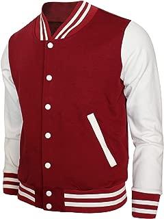 Baseball Jacket Varsity Baseball Cotton Jacket Letterman Jacket 8 Colors-Maroon L