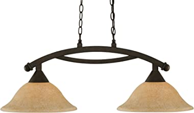 "Toltec Lighting 872-BRZ-528 Bow 2 Light Island Light with 12"" Italian Marble Glass, Bronze Finish"