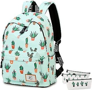 School Bookbag for Girls, Cute Water Resistant Laptop Backpack College Bags (Water Blue-Cactus 2)