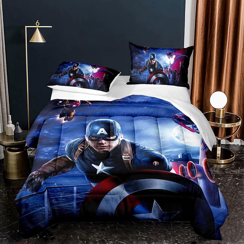 Kids Marvel Avengers Sale price Comforter Sale SALE% OFF Quilt Set Movie Captain Bedding A