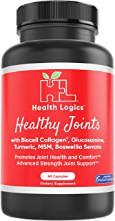 Health Logics Healthy Joints | Joint Supplement with BioCell Collagen, Glucosamine, MSM, Vitamin C, Turmeric Extract 95% Curcuminoids, Boswellia Serrata | Support Joint Comfort | Non-GMO | 90 Capsules