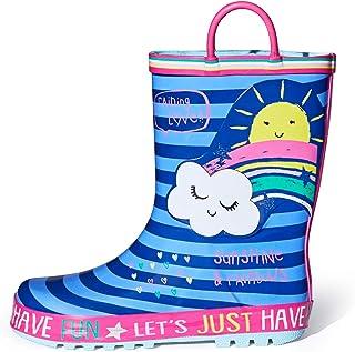 أحذية المطر للأطفال من ماي سوفت للأولاد والبنات والأطفال الصغار مصنوعة من المطاط المقاوم للماء مع مقابض سهلة الارتداء