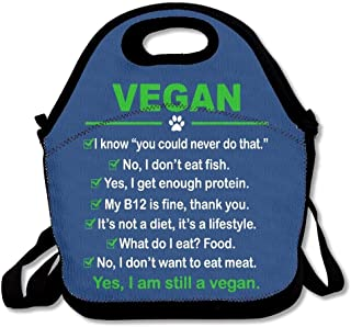 Portable Custom Lunchbox Vegan I Am Still A Vegan Insulated with Shoulder Strap Teens Girls Kids Adults Lunch Bag Tote Boxes Stylish for Outdoor Travel School Picnic