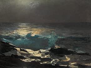 Get Custom Art Winslow Homer - Moonlight Wood Island Light, Size 18x24 inch, Poster art print wall décor
