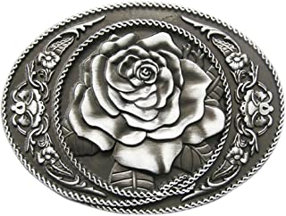 YONE Fibbia per Cinture Oval Flower Rose Belt Buckle Cowgirl Rodeo Floral Buckles