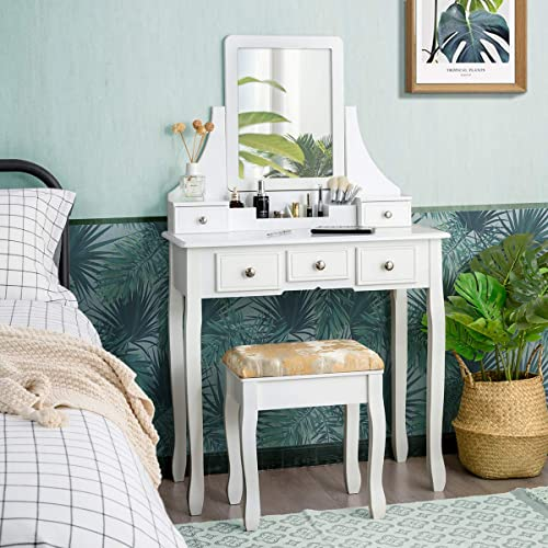 high quality CHARMAID Makeup Vanity Set with Mirror and Cushioned Stool, Dressing Table outlet sale with 5 Drawers and Removable Storage Organizers, Bedroom Makeup Table with Stool popular for Women Girls (White) online sale