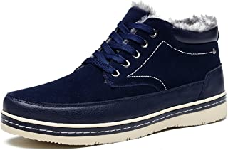 Mens Winter Snow Boots Warm Fur Lined All-Weather Walking Shoes