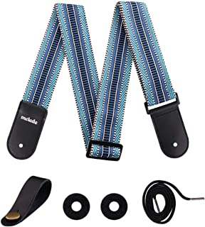 Guitar Strap Vintage Design Pure Cotton with Leather Ends Adjustable Length for Men Women Kids 2 inch Wide, Bundle with 2 Strap Locks and 1 Headstock Button Set by Melede (Blue)