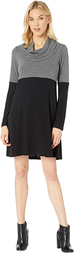 Cowl Neck Color Block Dress