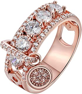 Women Bridal Fashion Crystal Rhinestone Hollow Out Ring Wedding Engagement Anniversary Bands Jewelry Gift