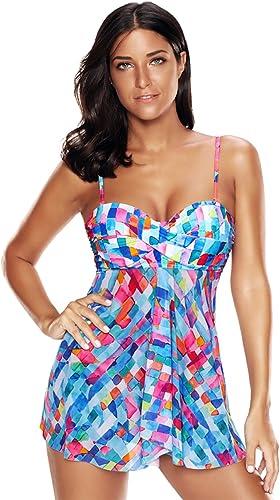 KamiraCoco Femme Sexy Tankini 2 Pièces Push-up Bikini Couleuré Couleur Elégant Taille Grande Maillots de Bain avec Slip