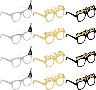 Amosfun Happy New Year Eyeglasses Fancy Decorative Eyeglasses Celebration Party Favor for 2020 New Year's Eve Party Decors,Pack of 12