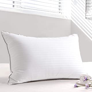 Goose Down and Feather Pillows for Sleeping(Queen,1 Pillow) 1000 Thread Count 100% Egyptian Cotton 3CM Stripes Cover