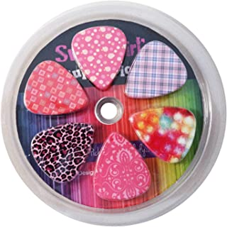 Guitar Picks for Girls - Medium Celluloid Assorted Variety 12-Pack Collection - Pretty Unique Designs Cool Pink Leopard - Best Gifts for Princess, Kids, Teens, Women, Ladies, Female Guitar Players