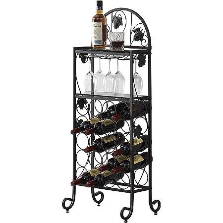 VECELO Metal Wine Rack Table with Glasses Holder, Freestanding Floor Bottles Bar Storage & Display Shelf for Kitchen Dining Living Room, Holds 20, Black