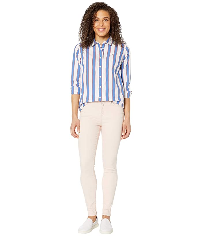 Tommy Hilfiger Adaptive  Stripe Shirt with Magnetic Buttons (Blue Iolite/Multi) Womens Clothing