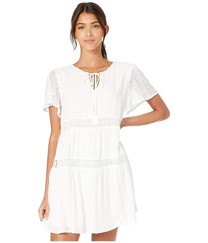 Miss Me White Mini Dress with Tie Neck