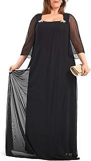 PARAISO CURVY Vestido de Fiesta Negro Fabricado en España para Tallas Extra Grandes, con el Tul-Lycra de Gimnasia rítmica,...