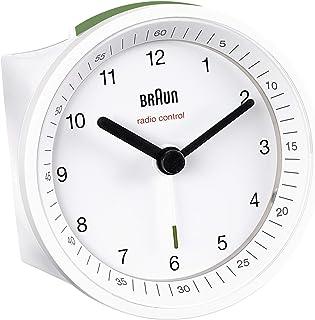 Braun klassisk radiostyrd analog väckarklocka för Centraleuropeisk tidszon (DCF/GMT+1) med snooze och ljus, Crescendo pip ...