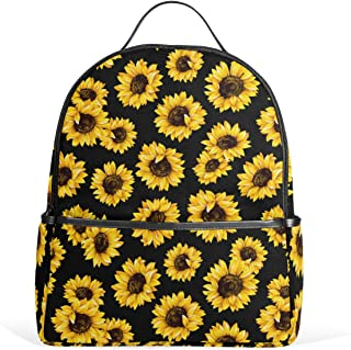 Wamika Sunflowers Black Tropical Flower Daisy Kids Backpack School Bookbags Daypack Bags Water Resistant,Cute Floral Sunflower Yellow Bag Mini Backpack Travel Sports for 1th-6th Grade Girls Boys Women