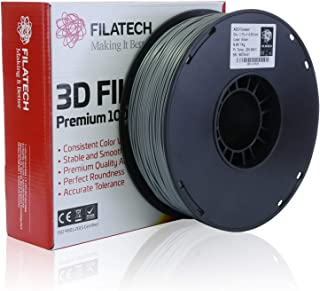 Filatech 3D Printing ABS Filament, 1.75 mm +/- 0.05 mm, 1.0 Kg Spool, 100% Virgin Material, Made in UAE Silver AB120
