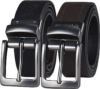 حزام جلدي من كولومبيا بتصميم قابل للعكس - جينز كاجوال للرجال مع حزام مزدوج الجوانب