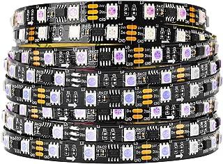 BTF-LIGHTING WS2811 DC24V 32FT 10M direccionable Tira de LED RGB 600 LED 100 píxeles Color a todo PCB negro IP30 no impermeable Funciona con Arduino/Frambuesa/etc. Prevenir la caída de voltaje
