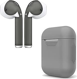 AirPod Skins & Charging Case Cover - 硅胶保护套和时尚包装袋适用于 Apple AirPodsGREYCASE_4GY04 Grey Case & Space Grey Skin