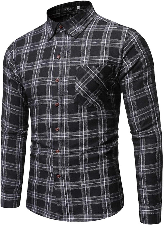 Men's Turn-down Collar Shirts,Long Sleeve Shirts for Men Tops Slim Plaid Mens Button Down Shirts Blouse