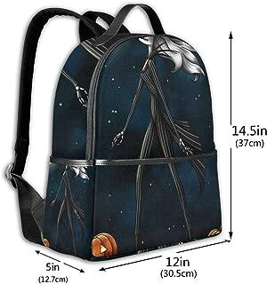 Classic School Backpack Nightmare Before Christmas Unisex College Schoolbag Travel Bookbag Black