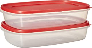 Rubbermaid 669900233019 Easy Find Lid Square 1.5-Gallon Food Storage Container, 2-Pack, 24 Cup, Clear/Red