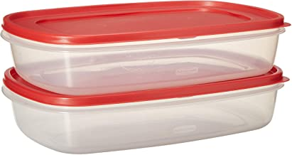 Rubbermaid Easy Find Lid Square 1.5-Gallon Food Storage Container, 2-Pack, 24 Cup, Clear/Red