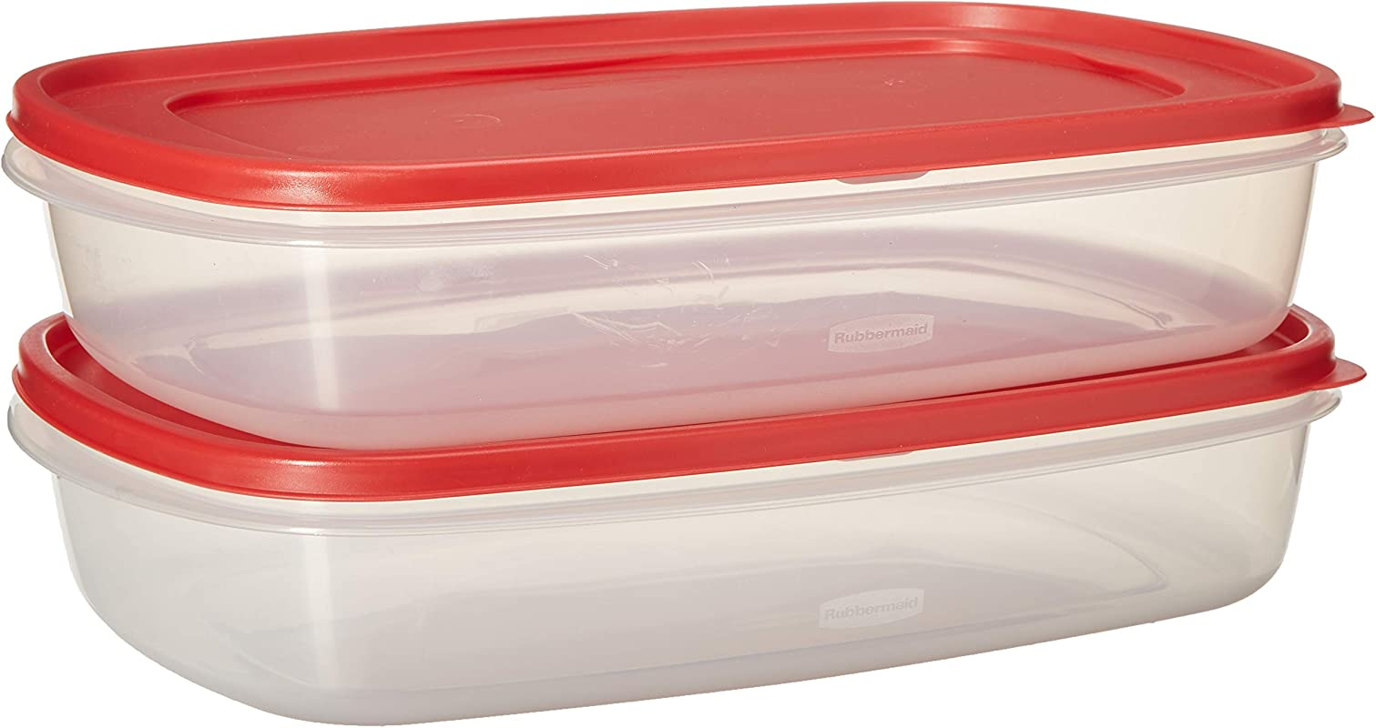 Rubbermaid 669900233019 Easy Find Lid Square 1 5 Gallon Food Storage Container Red 2 Pack 24 Cup Clear