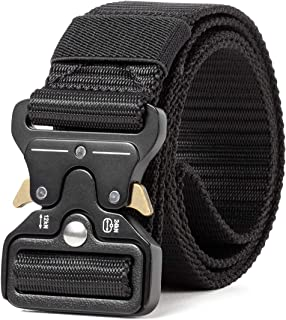 Sharkborough Men's Tactical Belt Military Style Webbing Riggers Web Belt Heavy-Duty Quick-Release Metal Buckle