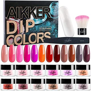 Aikker 12 Color Acrylic Dip Powder Nail Kit Starter Set with Recycling Tray Brush File Red Pink AK14