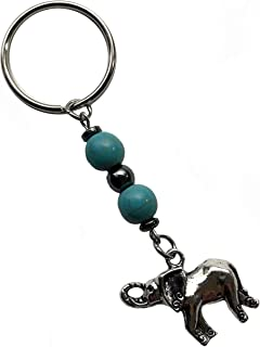 Turquoise stone bead with Hematite and pewter Elephant keychain
