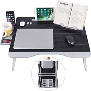 Laptop Bed Table, XXL Bed Trays for Eating, Laptops, Writing, Study and Drawing- Laptop Desk for Bed, Sofa and Couch- Folding Laptop Standwith Portable Book Stand and Drawer Storage, by NEARPOW