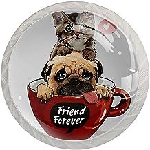 Lade handgrepen trekken ronde kristallen glazen kast knoppen keuken kast handvat,kat hond vriend voor altijd
