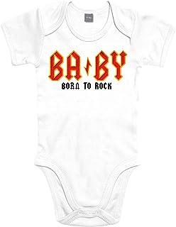 Shirtoo Supersüßer Baby Body Strampler BA by - Born to Rock für Jungen und Mädchen als Geschenk zur Geburt/Erstausstattung