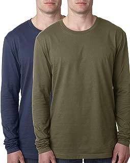 2 Pack Men's 100% Cotton Long Sleeve Crew Neck T-Shirt