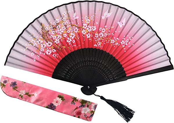 Folding Chinese Fan Japanese Vintage Portable Hand Held Fans With Fabric Sleeve For Women Sakura Blue