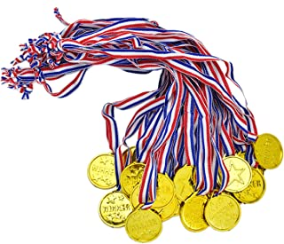 JETEHO Set of 36 Kids Winner Awards Medal Prizes Gold Plastic Medal Necklaces Winner Award for Parties and Celebrations, Party Favors, Sports Events